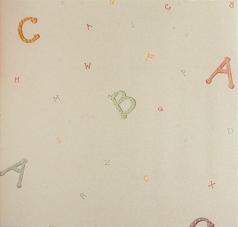 Papel de parede Ola Baby Creme Liso com Alfabeto Colorido FA-83502