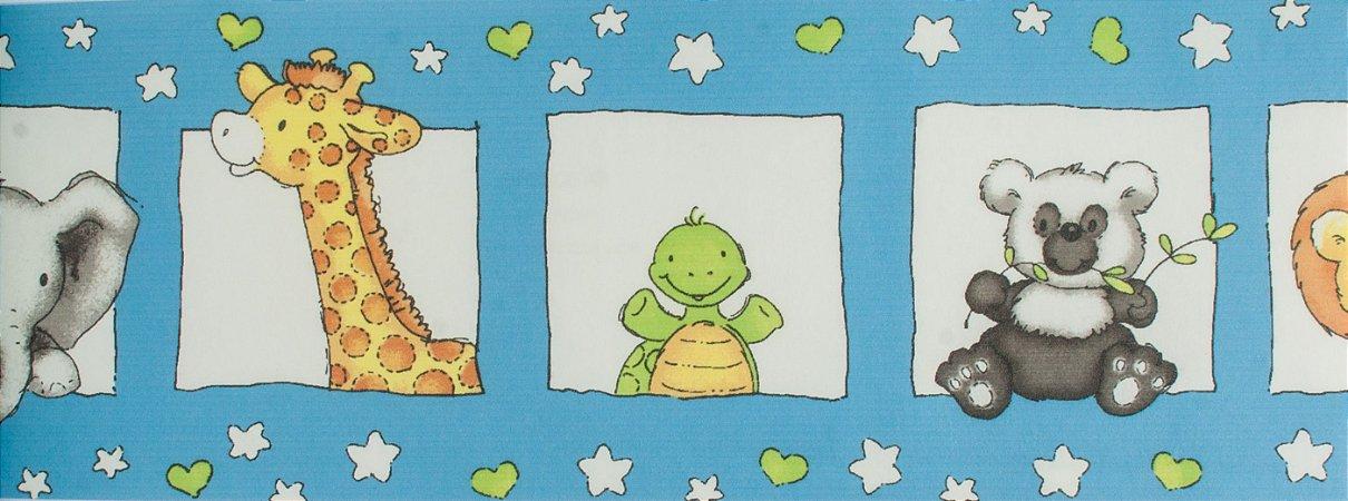 Papel de parede Ola Baby Azul Com Animais FA-83701B