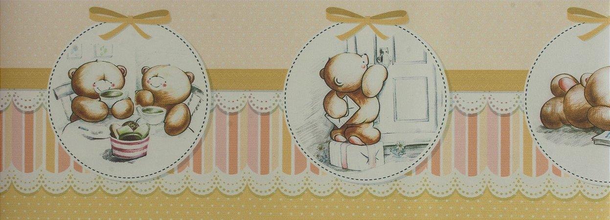 Papel de parede Ola Baby Faixinha Tons de Amarelo com Ursinhos FA-38402B