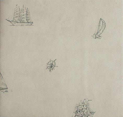 Papel de parede Ola Baby Creme com Lemes, Âncoras, Boias e Barcos Azuis FA-38202