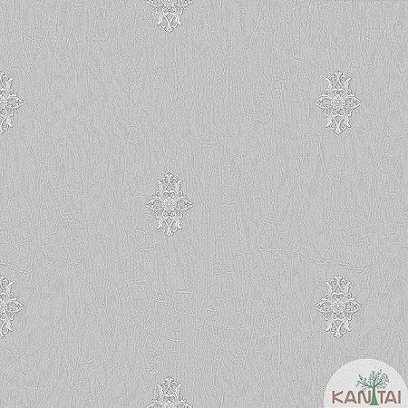 Papel de parede Barcelona Cinza com Mini Brasões Prata BC-380103