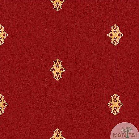 Papel de parede Barcelona Vermelho com Mini Brasões Dourado BC-380105