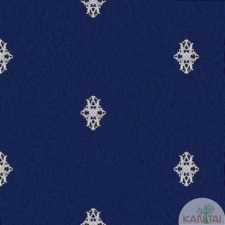Papel de parede Barcelona Azul com Mini Brasões Prata BC-380104