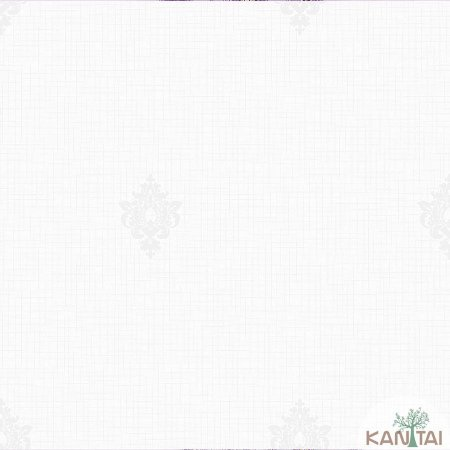 Papel de parede Barcelona Quadriculado Marfim com Brasões Prata BC-380301