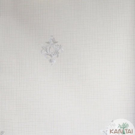 Papel de parede Barcelona Quadriculado Creme com Brasões Prata BC-380305