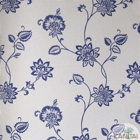 Papel de parede Barcelona Pérola com Brilho e Flores Azul Indico BC-382101