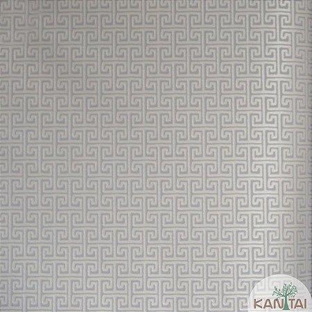 Papel de parede Barcelona Geométrico Marfim e Prata BC-381503