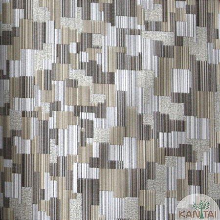 Papel de parede Barcelona Riscas Texturizadas Prata e Cinza BC-382705