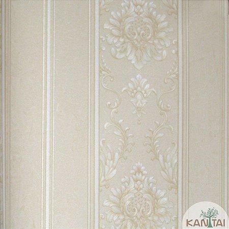 Papel de parede Barcelona Listrado Bege e Branco com Brasões Dourado BC-381701