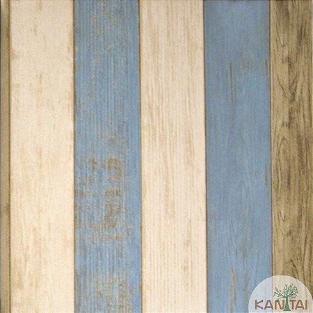 Papel de parede Barcelona Estilo Madeira Azul Claro, marfim e Marrom Claro BC-381201