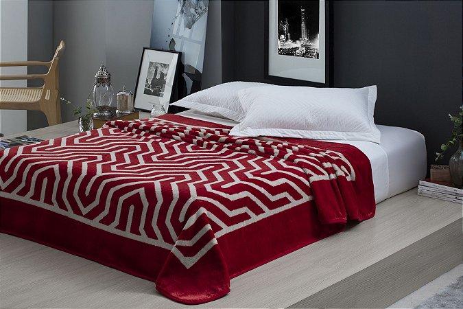 Cobertor Casal Raschel Vermelho 2.20x1.80 metros  Microfibra Ultra Macio