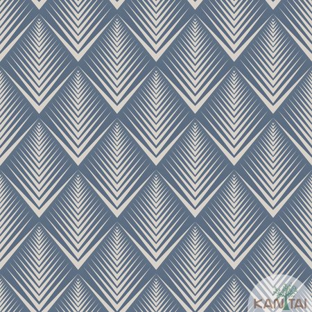 Papel de parede New Form Estilo Geométrico Azul Jeans e Prata - NF-630407