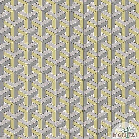 Papel de parede New Form Estilo Geométrico 3D Prata e Verde - NF-630104