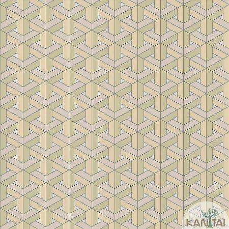Papel de parede New Form Estilo Geométrico 3D Bege Claro - NF-630106