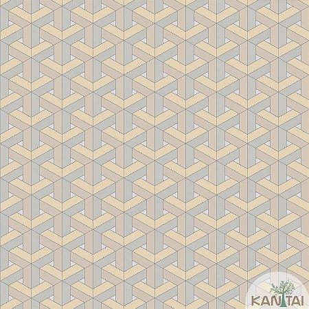 Papel de parede New Form Estilo Geométrico 3D Bege - NF-630103