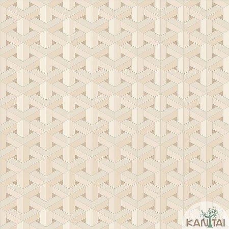 Papel de parede New Form Estilo Geométrico 3D Cappuccino com Creme - NF-630108
