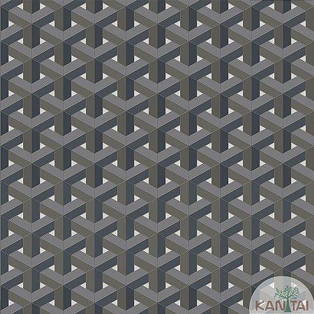 Papel de parede New Form Estilo Geométrico 3D Azul Jeans e Cinza Escuro - NF-630107