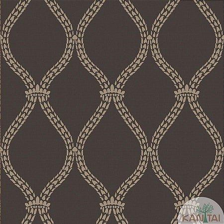 Papel de parede New Form Estilo Cordas Dourada e Marrom - NF-630606