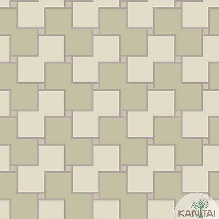 Papel de parede New Form Quadrados Verde Fendi e Creme - NF-630203