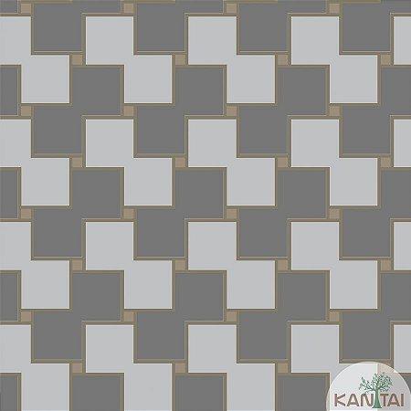 Papel de parede New Form Quadrados Prata e Cinza - NF-630204