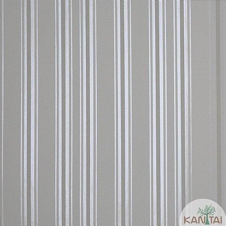 Papel de Parede Nickal Estilo Listrado Branco, Cinza e Creme - NK53701