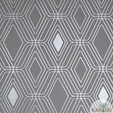 Papel de Parede Nickal Estilo Forma Geometrica Bege com Cinza e Prata - NK53405