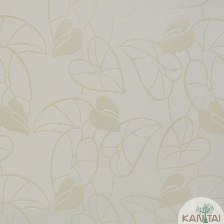 Papel de Parede Nickal Estilo Folhas Branco e Creme - NK53201