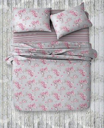 Jogo de Cama 150 fios Queen Flores rosas e fundo cinza Mirela B