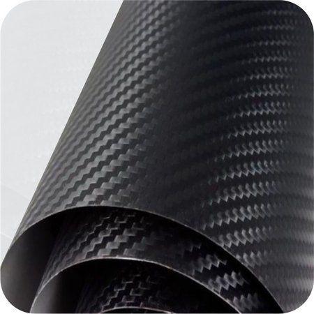 Adesivo Fibra De Carbono 3d Preto Texturizado 1,00x0,70
