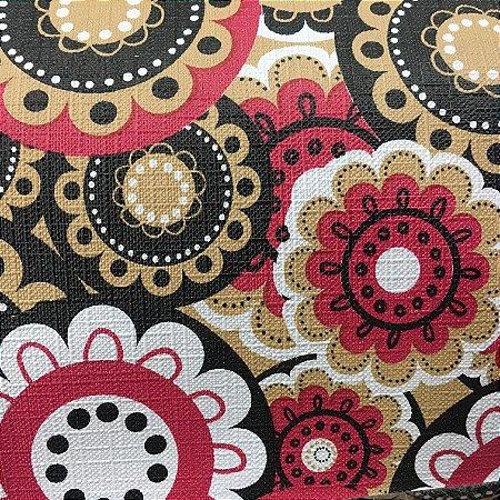 Tecido Corino Mandala Floral Preto Branco e Vermelho