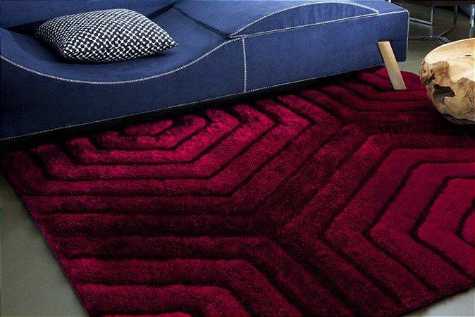 Tapete De Sala 3D Pelo Alto Standal Luxo Vermelho - 1,50x2,00
