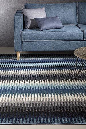 Tapete De Sala Indonesia 6A Aveludado Moderno e Estilo Tons Cinza e Azul 2,50 x 2,00