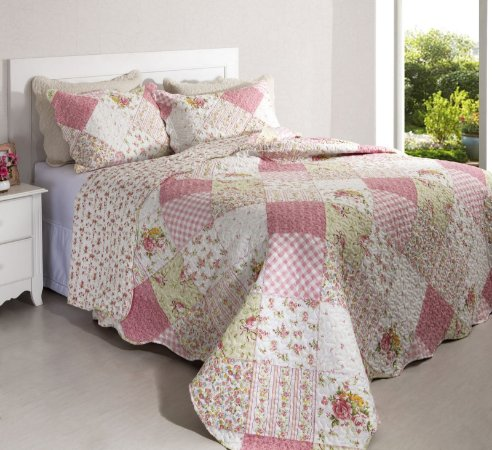 Colcha Casal Patchwork Portofino 5 Branco com Tons de Rosa 2,40 x 2,20 - 3 peças