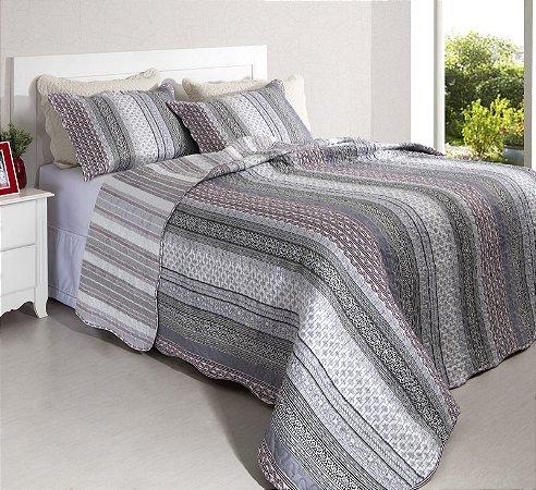 Colcha Casal Patchwork Portofino 8 Branco com Preto 2,40 x 2,20 - 3 peças