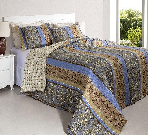 Colcha Casal Patchwork Portofino 6 Marrom com tons de Azul 2,40 x 2,20 - 3 peças