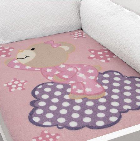 Cobertor Estampado Baby Soft Urso Rosa com Nuvem Lilás 0,90 x 1,10 Macio