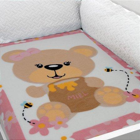 Cobertor Estampado Baby Soft Urso com Abelhas 0,90 x 1,10 Macio