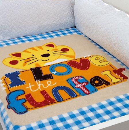 Cobertor Estampado Baby Soft Tigre I Love Funfair 0,90 x 1,10 Macio