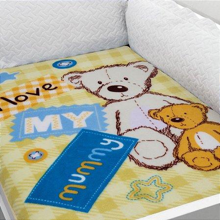 Cobertor Estampado Baby Soft Ursos I Love Mummy 0,90 x 1,10 Macio