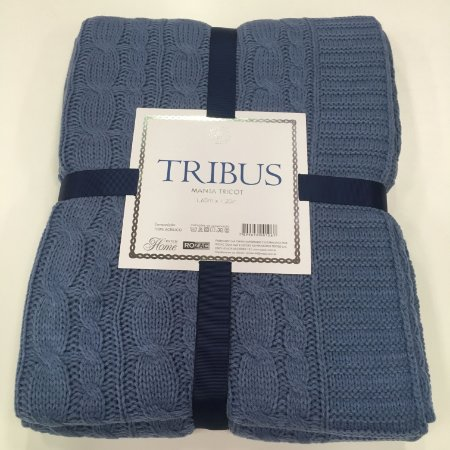 Manta Tricot Tribus Azul 1,60 x 1,20 cm Macia