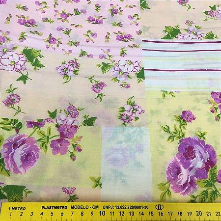 Tecido Tricoline Chita Patchwork Floral Lilás com Amarelo - Gramado 75