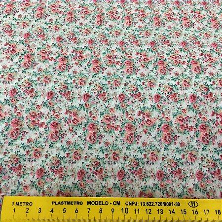 Tecido Tricoline Chita Patchwork Floral Branco com Rosa - Gramado 91