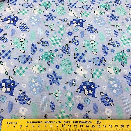 Tecido Tricoline Chita Patchwork Corujinhas Tons de Azul - Gramado 92