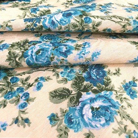 Tecido Jacard Estilo Linho Floral Azul - Michigan 01
