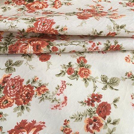 Tecido Jacard Estilo Linho Floral Verelho Tijolo - Michigan 04