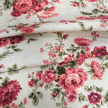 Tecido Jacard Estilo Linho Floral Vermelho - Michigan 02