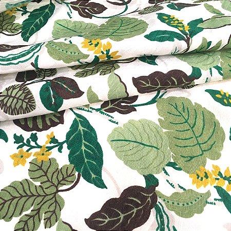 Tecido Jacard Estilo Linho Folhas Verdes - Michigan 20