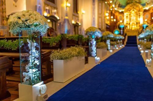 Passadeira Carpete 2m Largura Azul Royal Para Casamento, Festas 15 Metros de comprimento