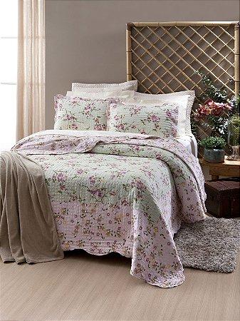 Colcha Boutis King Floral Verde Tiffany e Rosa Lumina 3 peças Corttex
