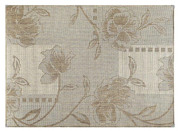 Tapete para Sala Sisal Antiderrapante com Proteção de Borda Sisle Floral Bege 2,00x3,00